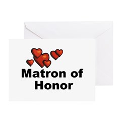 Hearts Matron of Honor Greeting Cards (Pk of 20)
