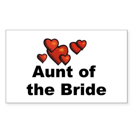 Hearts Aunt of the Bride Rectangle Sticker