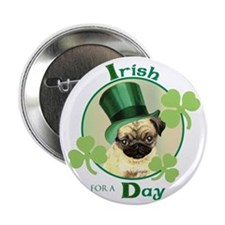 "St. Patrick Pug 2.25"" Button"
