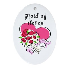 Maid Of Honor Heart Bouquet Ornament (Oval)