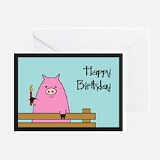 Birthday Pig Greeting Card