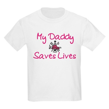 My Daddy Saves Lives-Girl Kids Light T-Shirt