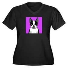 Boston Terrier (Black) Women's Plus Size V-Neck Da