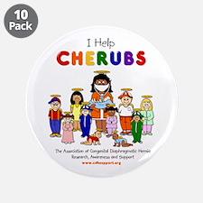 """""""I Help CHERUBS"""" Doctor Caudine Logo 3.5"""" Button ("""