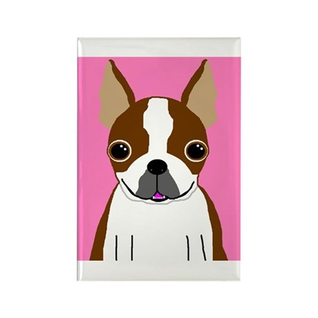 Boston Terrier (Brown) Rectangle Magnet (10 pack)