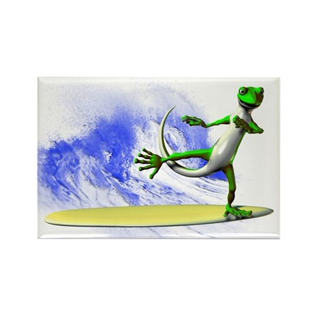 Surfing Gecko Rectangle Magnet