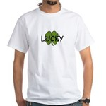 lucky with frog and clover on back White T-Shirt