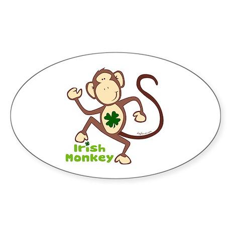 Shamrock Irish Monkey Oval Sticker