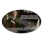 Sir Isaac Newton: Gravity Oval Sticker