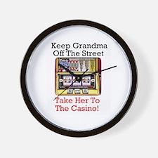 Grandma's slot machine lovers Wall Clock