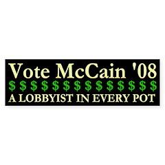 John McCain Lobbyist Bumper Bumper Sticker