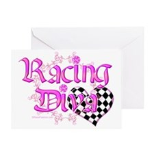 Racing Diva Pink Greeting Card