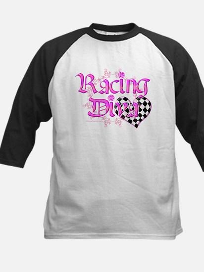 Racing Diva Pink Kids Baseball Jersey