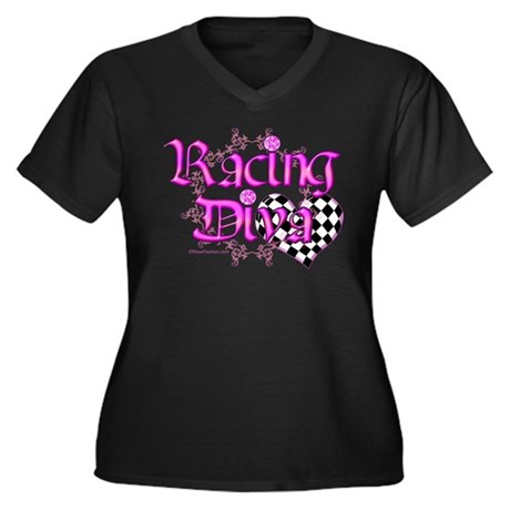Racing Diva Pink Women's Plus Size V-Neck Dark T-S