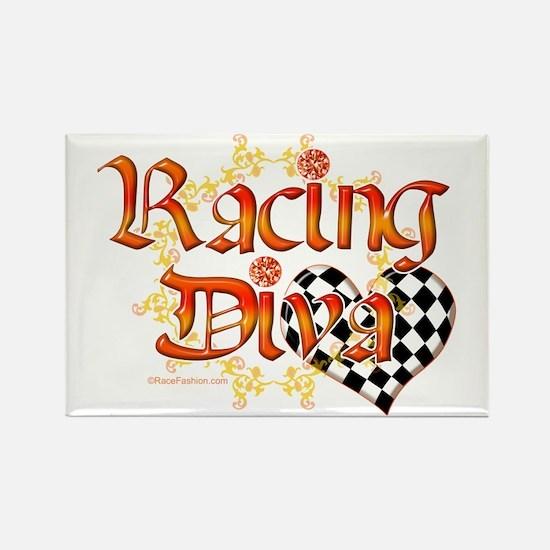 Racing Diva Orange Rectangle Magnet