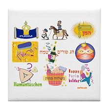 Happy Purim Collage Tile Coaster