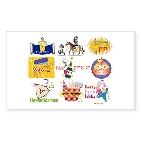 Happy Purim Collage Rectangle Sticker