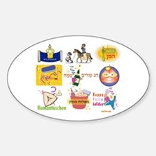 Happy Purim Collage Oval Decal