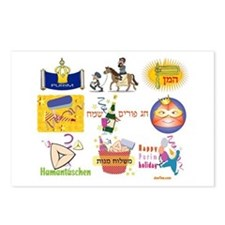 Happy Purim Collage Postcards (Package of 8)