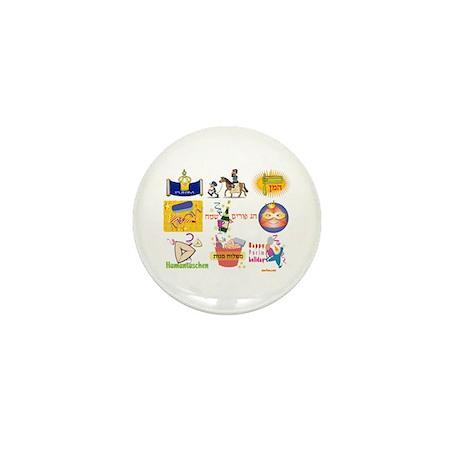 Happy Purim Collage Mini Button (100 pack)