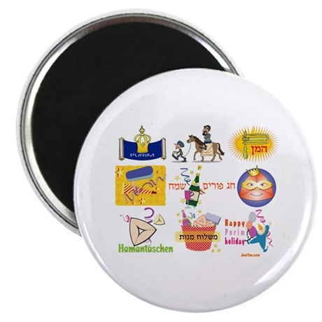 """Happy Purim Collage 2.25"""" Magnet (100 pack)"""