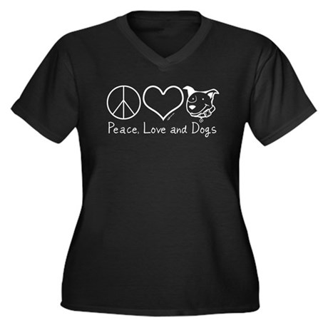 Peace Love and Dogs! Women's Plus Size V-Neck Dark