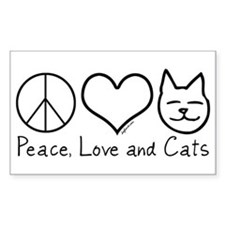 Peace, Love, and Cats! Rectangle Decal