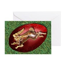Spring Hare and Red Egg Greeting Card