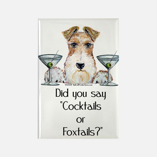 Wire Fox Terrier Martini Rectangle Magnet