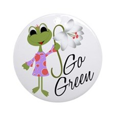Go Green Frog Ornament (Round)