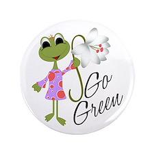 """Go Green Frog 3.5"""" Button"""