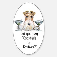 Wire Fox Terrier Martini Oval Decal