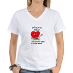 Quilting and Chocolate Women's V-Neck T-Shirt