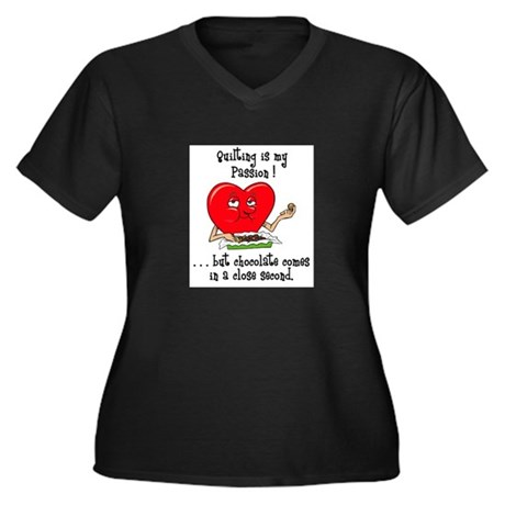 Quilting and Chocolate Women's Plus Size V-Neck Da