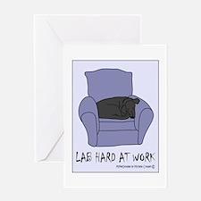 Lab Hard At Work - Black Greeting Card