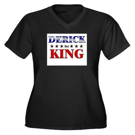 DERICK for king Women's Plus Size V-Neck Dark T-Sh