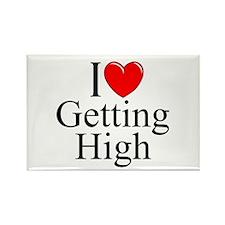 """I Love (Heart) Getting High"" Rectangle Magnet"