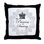 The Princess is Sewing Throw Pillow