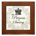 The Princess is Sewing Framed Tile