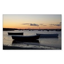 Maine Dinghy Boat Sunset Rectangle Decal