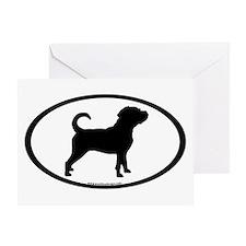 Puggle Dog Oval Greeting Card