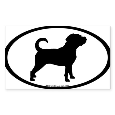 Puggle Dog Oval Rectangle Sticker