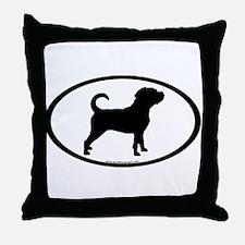 Puggle Dog Oval Throw Pillow