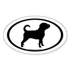 Puggle Dog Oval (inner border) Oval Decal