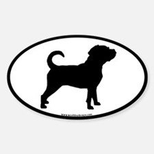 Puggle Dog Oval (black border) Oval Decal