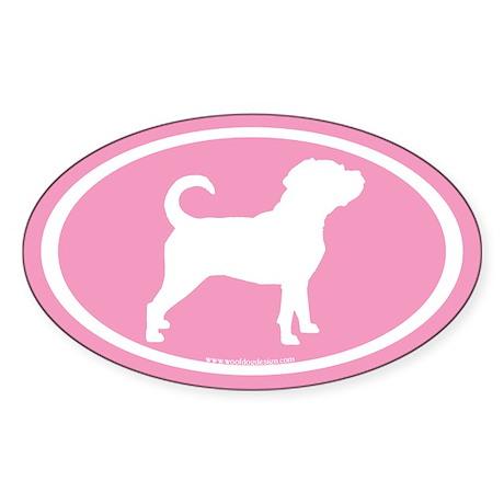 Puggle Dog Oval (white on pink) Oval Sticker