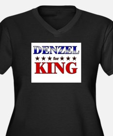 DENZEL for king Women's Plus Size V-Neck Dark T-Sh