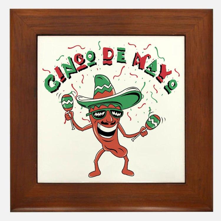 Cinco de Mayo Chili Pepper Framed Tile