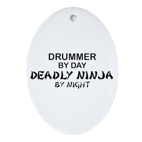 Drummer Deadly Ninja Oval Ornament