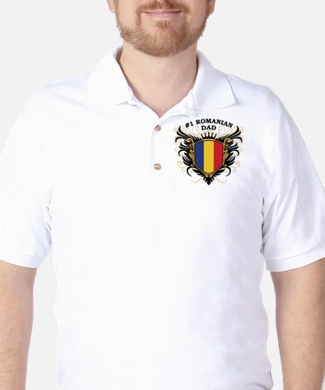 Number One Romanian Dad Golf Shirt